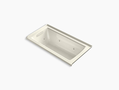 "Kohler Archer® 60"" x 30"" alcove whirlpool with integral flange and left-hand drain in Biscuit"
