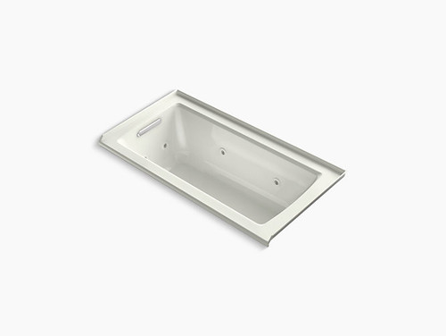 "Kohler Archer® 60"" x 30"" alcove whirlpool with integral flange and left-hand drain in Dune"