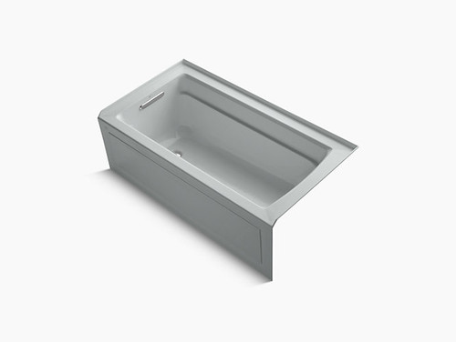 """Kohler Archer® 60"""" x 32"""" alcove bath with Bask® heated surface, integral apron, integral flange and left-hand drain in Ice Grey"""
