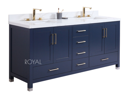Royal Hollywood Collection 65 inch Navy Blue Double Sink Bathroom Vanity