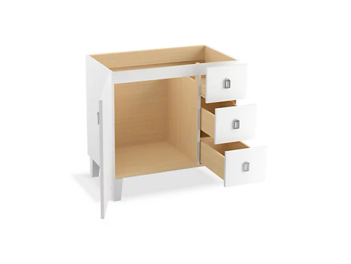 Kohler Poplin 36 Bathroom Vanity Cabinet With Legs 1 Door And 3 Drawers On Right In Linen White Royal Bath Place