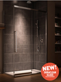 """K-MOTION 48""""X80""""  Alcove sliding shower door 2 panels clear Duraclean glass"""