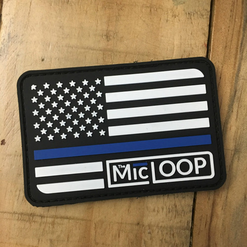 Thin Blue Line Logo Flag PVC Patch [Velcro Backing]