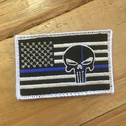 USA BLUE LINE SKULL PATCH [VELCRO BACKING]