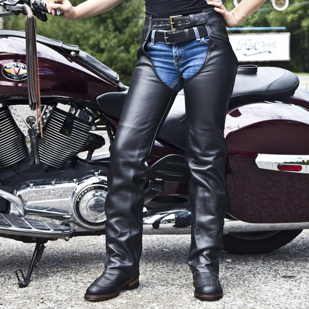Womens Leather Motorcycle Chaps - Fox Creek Leather