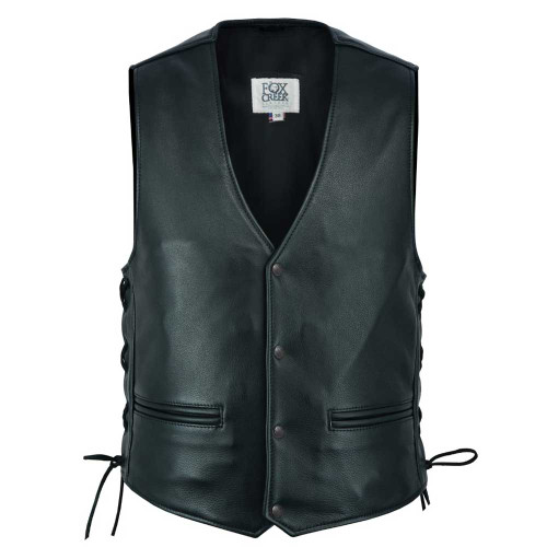 Charter Leather Vest With Extended Back