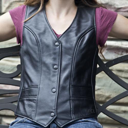 Overstock Vixen Motorcycle Vest - Solid