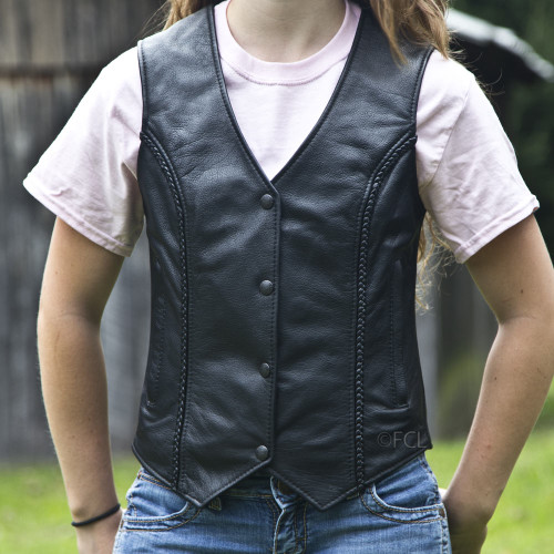 Overstock Braided Vest With Zip Pockets - Solid