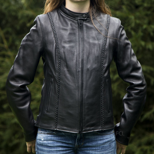 Overstock Braided Leather Jacket