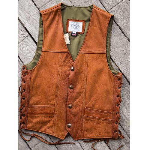 Men's Distressed Tobacco Elk Vintage Vest Size 38 (Clearance 141)