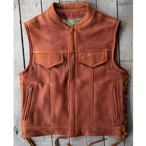 Distressed Tobacco Elk Zippered Rebel Vest Size 40 (Clearance 147)