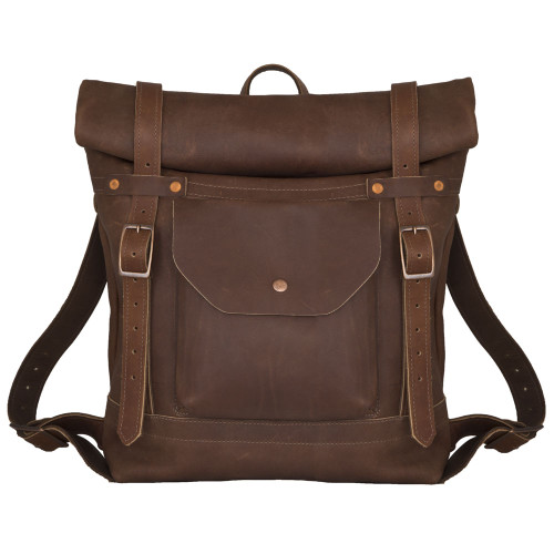 Deluxe Leather Rolltop Backpack