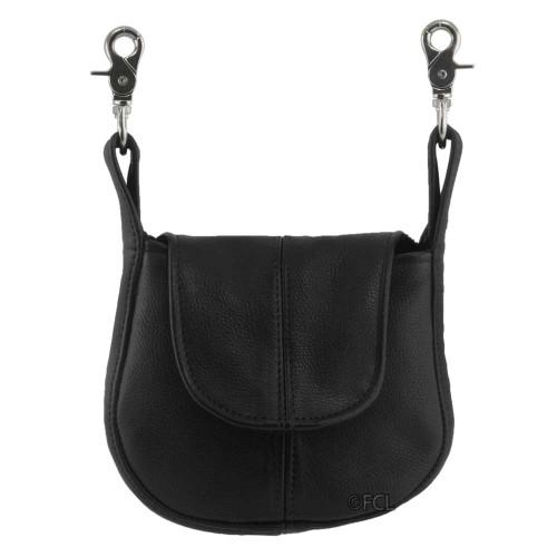 Leather Belt Purse - Black