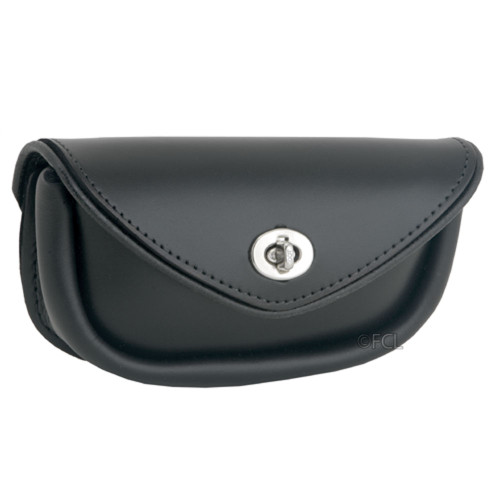 Front view of the Leather Handlebar Bag in black.