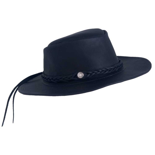 Black Leather Outback Hat