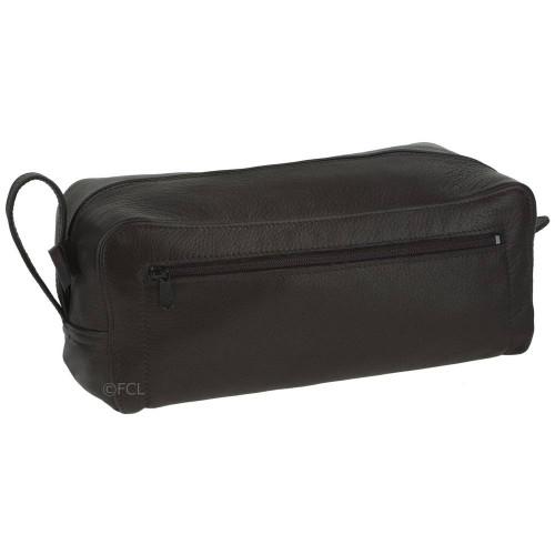 Black Leather Shaving Kit Bag