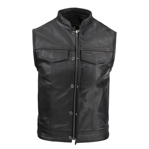 Men's Zippered Rebel Vest with hidden snaps and front zipper