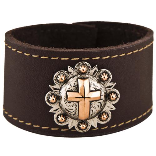 Copper Cross Leather Cuff Bracelet