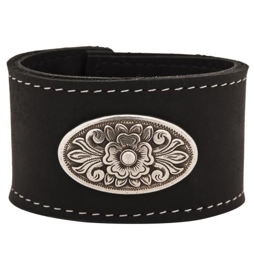 Diablo concho on our leather cuff bracelet in black