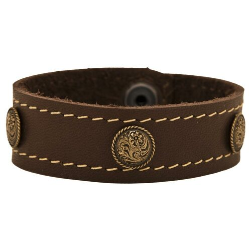 Brown leather cuff bracelet with spot rose copper conchos.