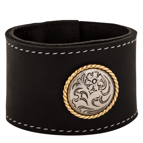 """Black cuff leather bracelet 2"""" wide with large rose gold rope concho"""