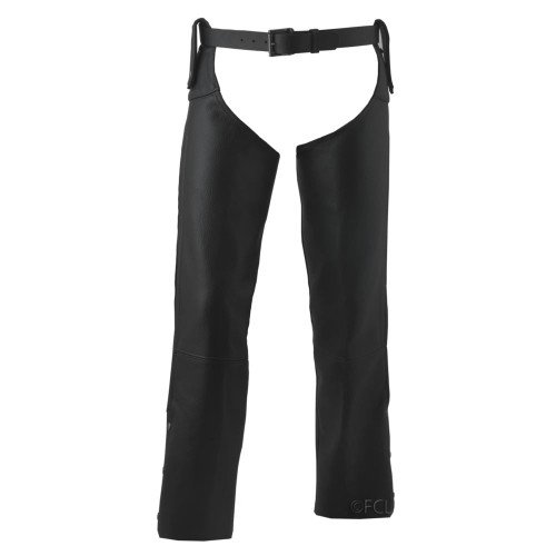 Beltless Leather Motorcycle Chaps shown with belt (sold separately)