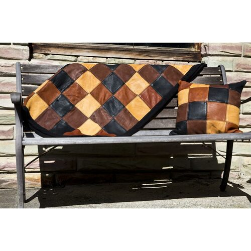 Quilted Leather Throw and Pillow
