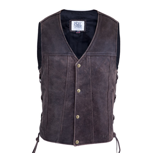 Distressed Leather Motorcycle Vest