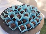 Tiffany Blue Tela Chocolate Truffle Holder. Caixeta para doces em Tela