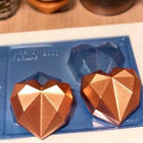 Chocolate Heart 3D Mold 200g Silicone Shell. Forma Coracao Diamante.
