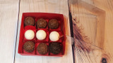 9 Chocolate Truffles, Brownie Sweets Gift Boxes. Embalagem para Brownies e Bombon.