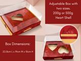 Heart Adaptable Gift Box. Comes with two optional 200g - 500g Chocolate heart shell inserts. Caixa Coracao Adaptavel com dois bercos opcionais para coracao 200 ou 500g.