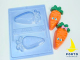 3D Carrot, 3 Part Mold. Forma Cenoura.