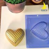 Heart Matelassé, 3 Part Mold - 350g Shell