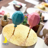 Geometric Balloon, Lollipop, Cake Topper Mold.