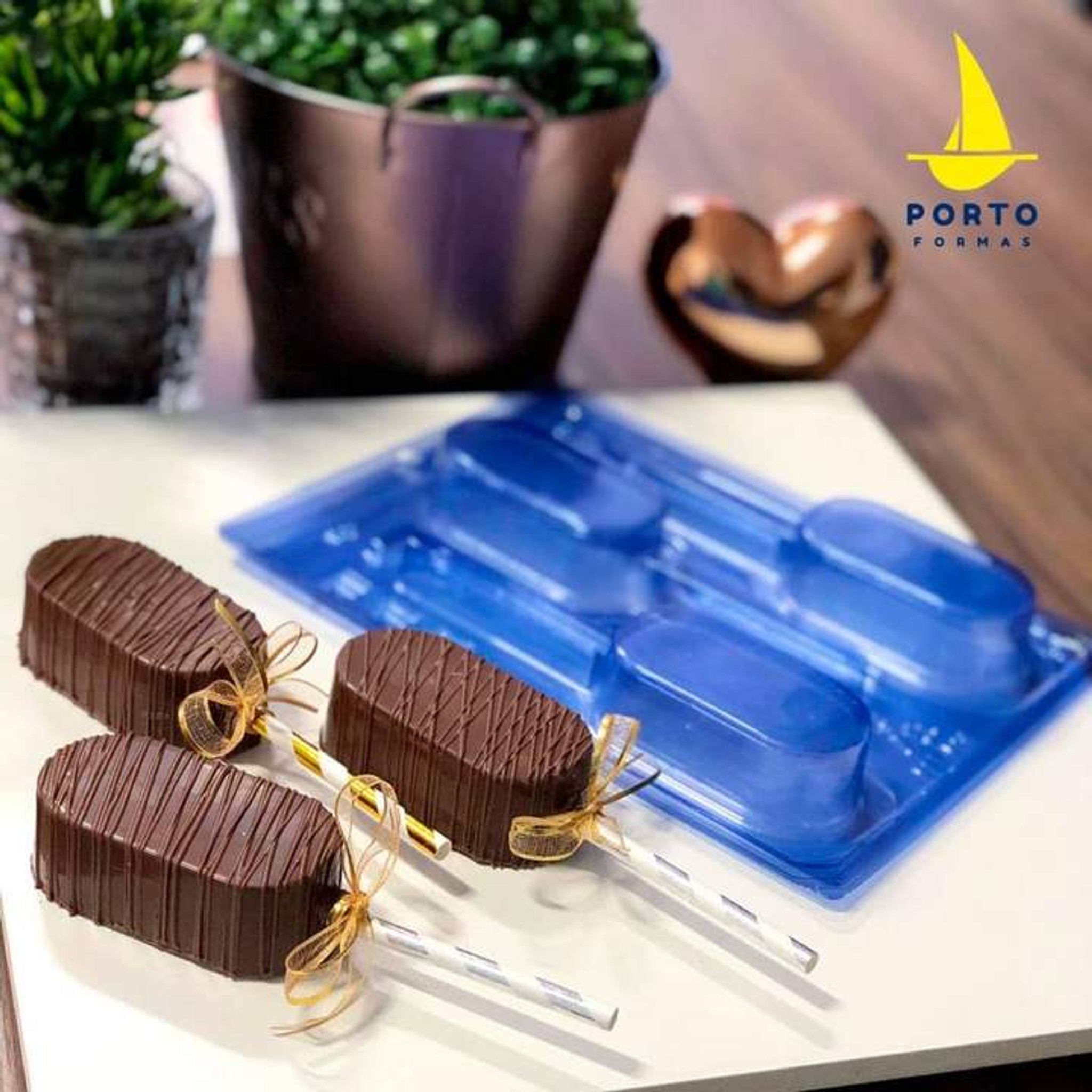 Elongated Vertical Lollipop Candy Chocolate 3 Part Mold