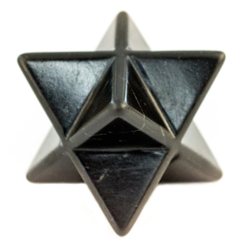"Shungite Merkaba Carved Black Stone Sacred Star 2"""