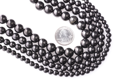 Shungite Round Beads Strand