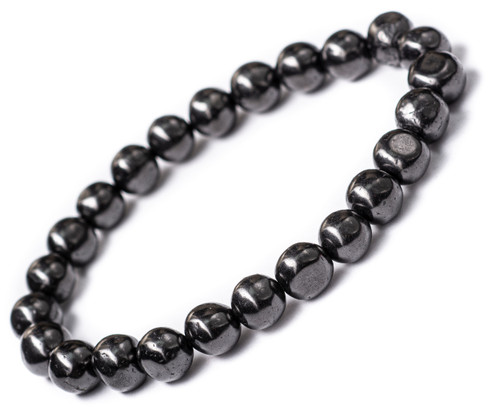 Shungite Bracelet Tumbled Round Beads Stretch 6.5""