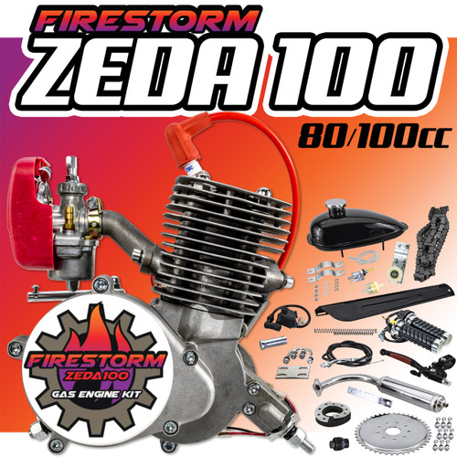 New Zeda 100 Complete 50mm Bore 2 Stroke Bicycle Engine Kit -  80cc/100cc - Firestorm Edition