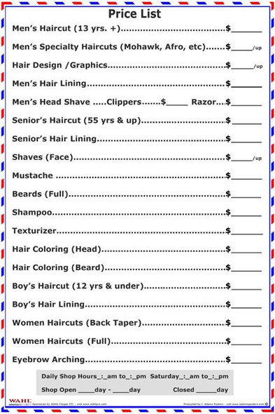 Barber / Salon Price List PosTER  2010BPL