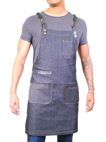 Hair Art Barber Apron - Dark Wash Denim Unisex
