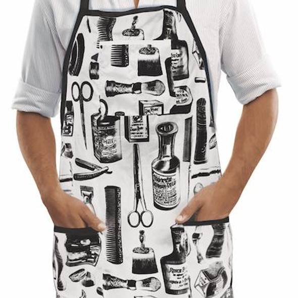Betty Dain Vintage Barber Apron - Black/White