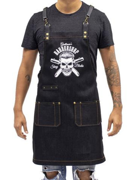 Barber Apron Barber Graphic - Dark Wash Denim [Unisex]