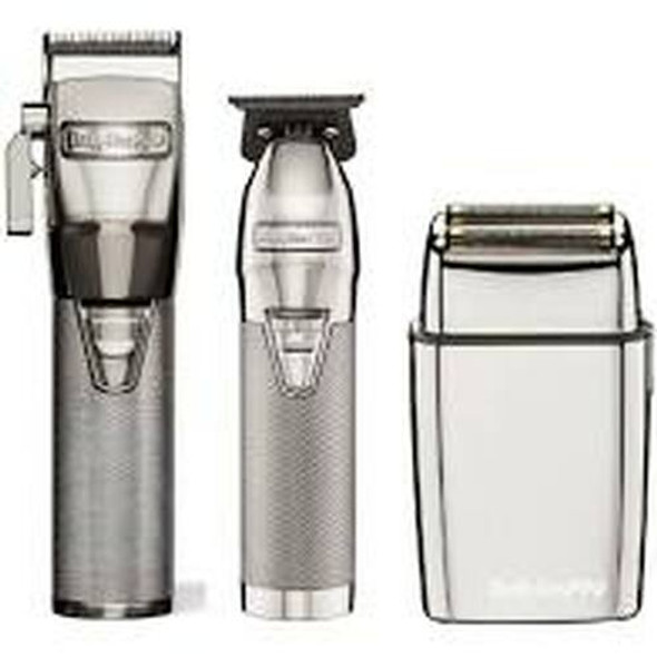 BaByliss PRO Silver FX Skeleton Trimmer, FX Cordless Clipper & Double Foil Shaver Trio