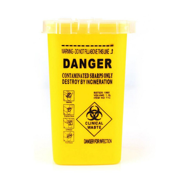 Yellow Plastic Container for Disposable Razor Blades