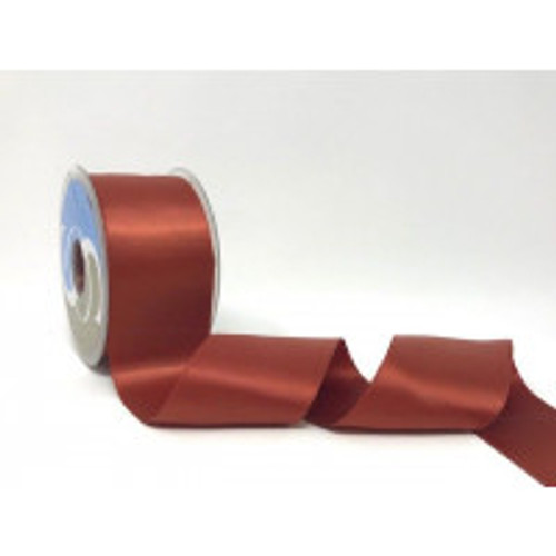 Rust Satin Ribbon, 25mm wide, Sold Per Metre