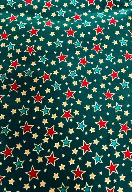Starburst on Green- 100% Cotton Fabric, 135cm/53 in Wide, Sold Per HALF Metre