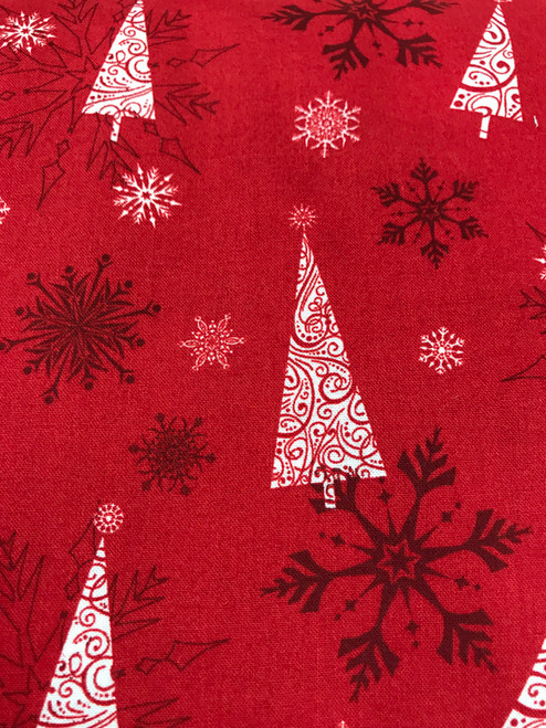 Scandi Christmas on Red - 100% Cotton Fabric, 135cm/53 in Wide, Sold Per HALF Metre