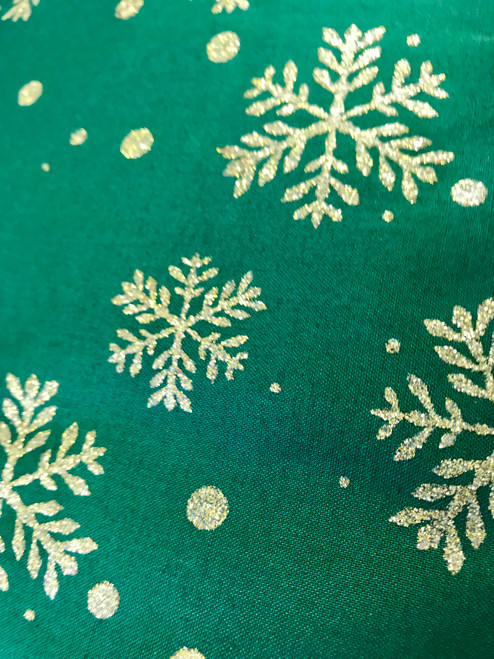 Gold Snow Flakes on Green-100% Cotton Fabric, 135cm/53 in Wide, Sold Per HALF Metre